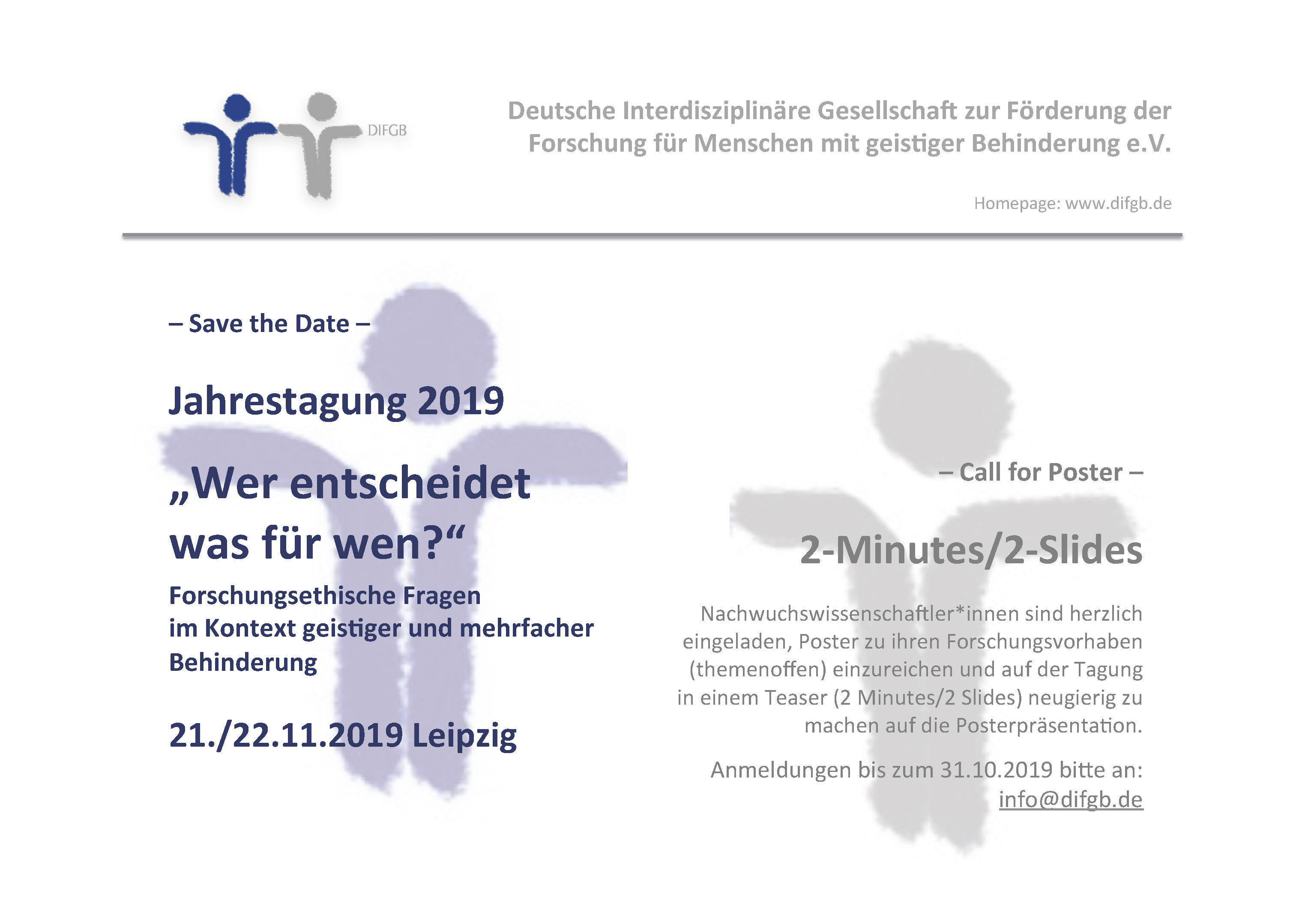 save the date call for poster difgb tagung 2019